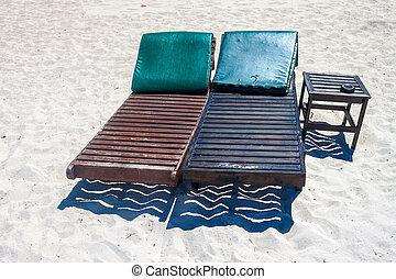 krzesła, plaża, pokład
