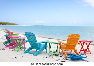 krzesła, plaża.