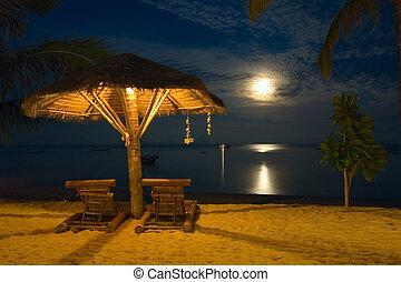 krzesła, -, scena, tropikalny, uciekanie się, noc plaża