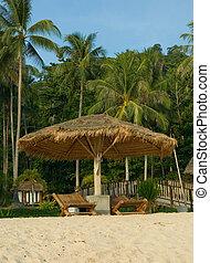 krzesła, tropikalna plaża, uciekanie się