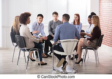 krzesło, grupa, businesspeople, posiedzenie