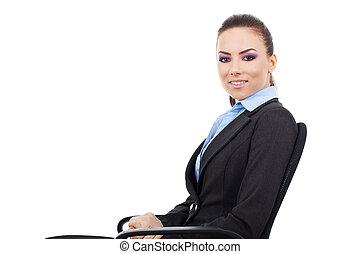 krzesło, kobieta, biuro, posiedzenie