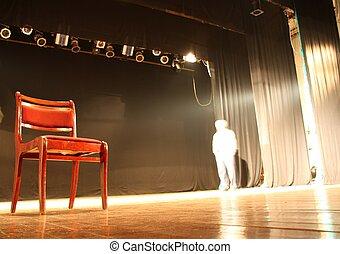 krzesło, opróżniać, teatr, rusztowanie