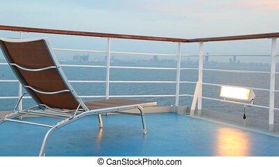 krzesło, rejs, ruchomy, statek, pokład