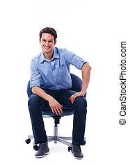 krzesło, samiec, przystojny, posiedzenie