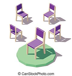 krzesło, wektor, niski, poly