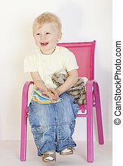 krzesło, zabawki, berbeć, posiedzenie