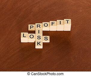 krzyżówkowa zagadka, z, słówko, ryzyko, korzyść, i, loss., ryzyko, kierownictwo, concept.