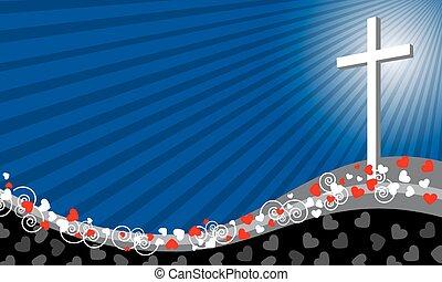 krzyż, background-, miłość, concept-, vec