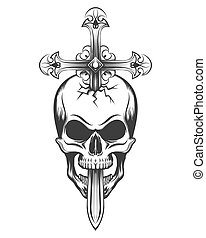 krzyż, czaszka