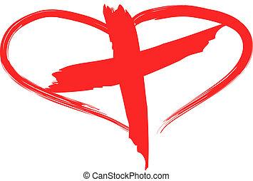 krzyż, czerwony