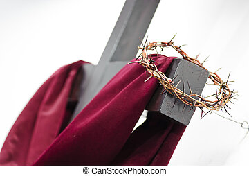 krzyż, i, korona