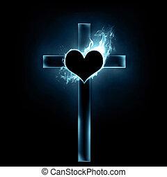 krzyż, i, serce