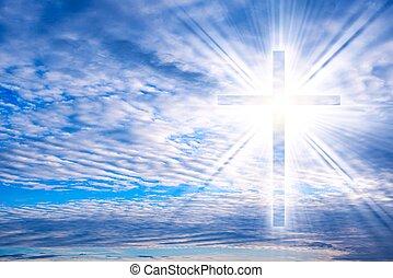 krzyż, jarzący się, natura, dramatyczny, tło, niebo