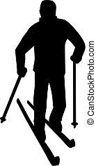 krzyż-kraj, człowiek, idzie, narciarstwo