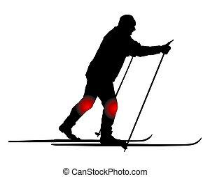 krzyż-kraj skier, kolano, ból