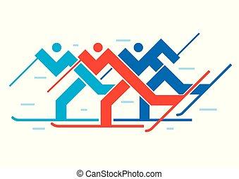 krzyż-kraj skiers, competition.
