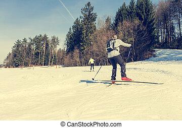 krzyż kraj, skiing.