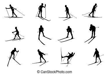 krzyż kraj, sylwetka, odizolowany, narciarstwo