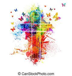 krzyż, malować, obryzguje