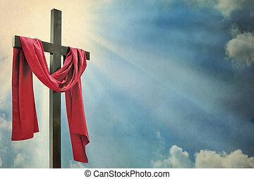 krzyż, na białym, tło