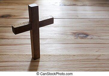 krzyż na drugą, drewno, stół