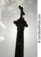 krzyż, na, niebo, tło