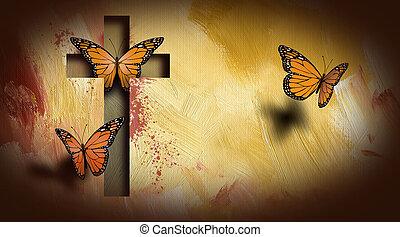 krzyż, od, jezus, zmontowanie, motyle, wolny