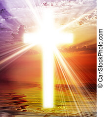 krzyż, ukazujący, na, wschód słońca, niebo