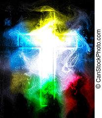 krzyż, w, kolor, dym