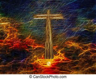 krzyż, w, niebo