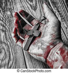 krzyż, w, ręka