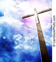 krzyż, w, sunrays, przeciw, pochmurne niebo