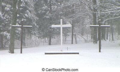 krzyże, w, śnieg