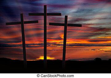 krzyże, zachód słońca, trzy