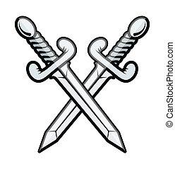 krzyżowany, miecz, -, wektor