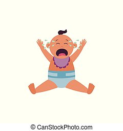 krzyczące niemowlę, jest, posiedzenie, w, pieluszka, i, śliniaczek, z, herb podniesiony, do góry, płaski, rysunek, styl