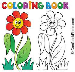 książka, 3, kolorowanie, temat, kwiat