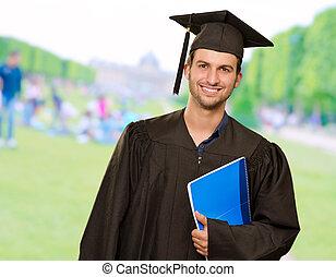 książka, absolwent, dzierżawa, człowiek