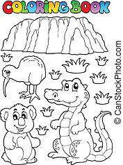 książka, australijski, kolorowanie, fauna, 3