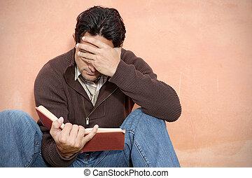 książka, biblia, albo, obsadzać czytanie