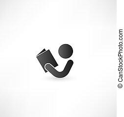 książka, czytelnik, ikona, znak