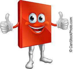 książka, do góry, człowiek, kciuki, czerwony