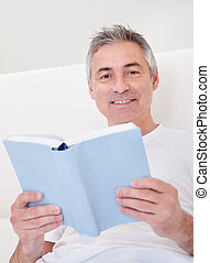 książka, dojrzały, dzierżawa, człowiek