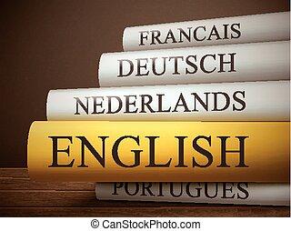 książka, drewniany, odizolowany, stół, tytuł, angielski