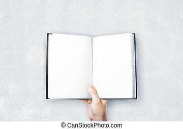 książka, dzierżawa, opróżniać, człowiek