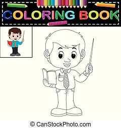 książka, kolorowanie, męski nauczyciel