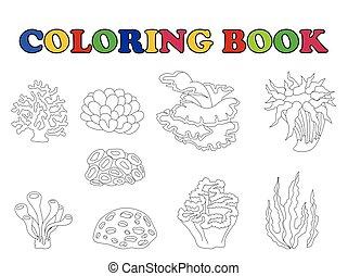 książka, koral, kolorowanie, komplet, rysunek