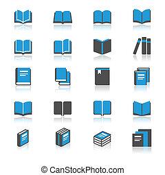 książka, płaski, z, odbicie, ikony