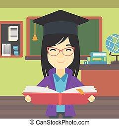 książka, siła robocza, wektor, illustration., absolwent